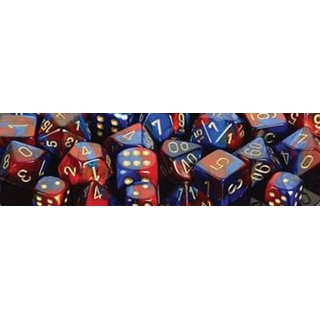 Chessex: Blue-Red w/gold Gemini? 12mm d6 with pips Dice Blocks? (36 Dice)