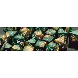 Chessex: Gold-Green w/white Gemini? 12mm d6 with pips Dice Blocks? (36 Dice)