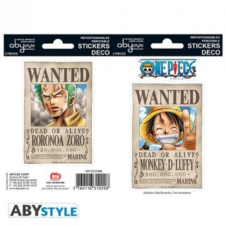ONE PIECE - Stickers - 16x11cm/ 2 sheets - Wanted Luffy/ Zoro