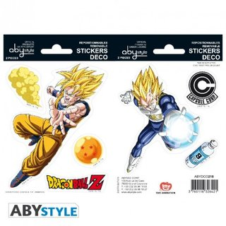 DRAGON BALL -Stickers - 16x11cm/ 2 sheets - DBZ/ Goku-Vegeta