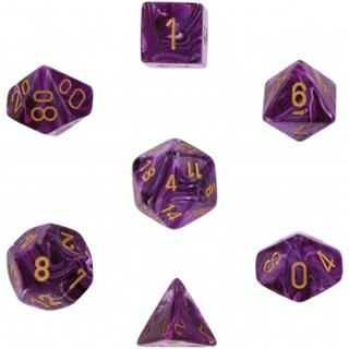 Chessex: Vortex Purple w/gold Signature? Polyhedral 7-Die Sets